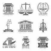 Law And Legal Labels. Legal Code, Judge Hammer And Other Corporate Symbols Of Jurisprudence. Black L poster