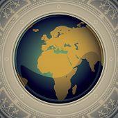 Vintage world map designed banner. Vector illustration. poster