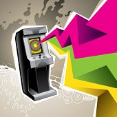 picture of arcade  - Illustrated arcade game machine with colorful abstraction - JPG