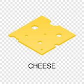 Sliced Cheese Icon. Isometric Of Sliced Cheese Icon For On Transparent Background poster