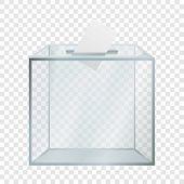 Transparent Election Box Mockup. Realistic Illustration Of Transparent Election Box Mockup For On Tr poster