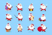 Santa Character. Funny Cartoon Cute Santa Claus Characters With Different Emotions, Vector Element F poster