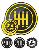 Gear shift icon - vectorillustratie.