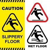 stock photo of workplace accident  - Slippery floor surface warning sign - JPG