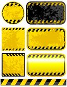 stock photo of warning-signs  - Vector grunge warning strips set - JPG