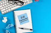 1st September. Image Of September 1, Calendar On Blue Background. Back To School Concept poster