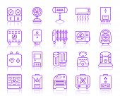 Hvac Thin Line Icons Set. Outline Vector Monochrome Web Sign Kit Of Climatic Equipment. Fan Linear I poster