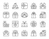 Gift Thin Line Icons Set. Outline Web Sign Kit Of Cute Bounty Box. Present Linear Icon Collection In poster
