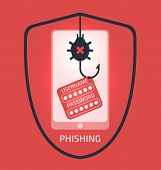 Smartphone Phishing Attack Concept Illustration. Breaking Anti-virus Protected System.personal Infor poster