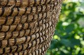 Wicker Or Rattan Basket Texture. Basket For Straw. Wicker Fence Closeup, Background, Focus With Shal poster