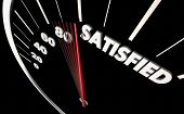 Satisfied Happiness Level Satisfaction Speedometer Word 3d Illustration poster