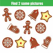 Find The Same Pictures Children Educational Game. Find Two Identical Christmas Cookies poster