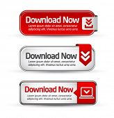 stock photo of descriptive  - Shiny minimal red download now button collection - JPG