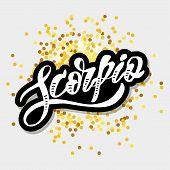 Scorpio Lettering Calligraphy Brush Text Horoscope Zodiac Sign poster