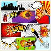 Comics Template.  Retro Comic Book Speech Bubbles Illustration. Mock-up of Comic Book Page with plac poster