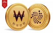 Iota. Won. 3d Isometric Physical Coins. Digital Currency. Korea Won Coin. Cryptocurrency. Golden Coi poster
