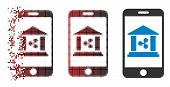 Ripple Mobile Bank Icon In Sparkle, Pixelated Halftone And Undamaged Entire Variants. Fragments Are  poster