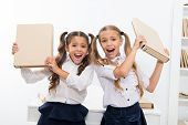 Successful Project. Little Children Girls Have Fun In School. Little Children Finished Successful Pr poster