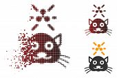 Crypto Ripple Kitty Icon In Dissolved, Dotted Halftone And Undamaged Solid Versions. Fragments Are A poster