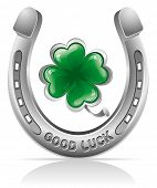 stock photo of four leaf clover  - Horseshoe and four leaf clover  - JPG