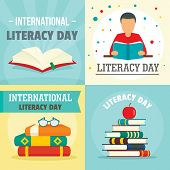 Literacy Day Book International Library Banner Concept Set. Flat Illustration Of 4 Literacy Day Book poster