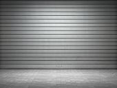 stock photo of roller door  - Illuminated grunge metallic roller - JPG