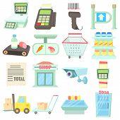 Supermarket Items Icons Set. Cartoon Illustration Of 16 Supermarket Items Icons For Web poster