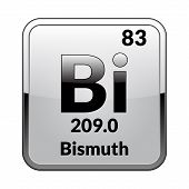 Bismuth Symbol.chemical Element Of The Periodic Table On A Glossy White Background In A Silver Frame poster