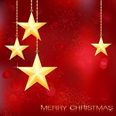 Festive red Christmas background with golden stars, snow flakes and grunge elements.
