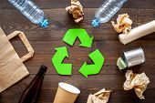 Recycling. Green Recycle Eco Symbol. Recycled Arrows Sign Near Matherials For Recycle And Reuse On D poster