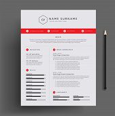 Stylish Cv / Resume Design Template Red. Super Clean And Clear Professional Modern Design. Red Desig poster