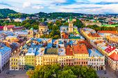Scenic Summer Aerial View Of The Market Square Architecture In The Old Town Of Lviv, Ukraine poster