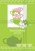 stock photo of tea party  - card with teapot and cups - JPG