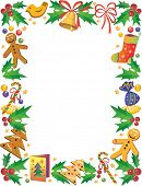 Decorative frame with sweets and other symbols of Christmas
