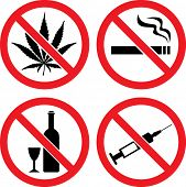 stock photo of cannabis  - Forbidding  Vector Signs  - JPG