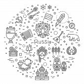Russian Culture Icons, Culture Signs Of Russia, Traditions Of Russia, Russian Life, National Objects poster