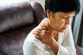 Neck And Shoulder Pain, Old Woman Suffering From Neck And Shoulder Injury, Health Problem Concept poster