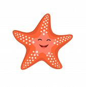 Cartoon Happy Starfish. Vector Illustration For Kids poster