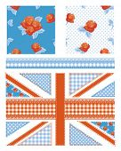 Union Jack design elements for scrap booking, cushion covers, textiles, paper craft and more all pat