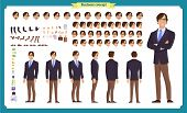 People Character Business Set. Front, Side, Back View Animated Character. Businessman Character Crea poster
