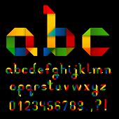 Colorful Ribbon Alphabet With Numbers