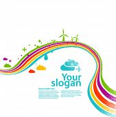 stock photo of wind energy  - rainbow ecology  - JPG