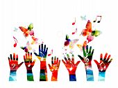 Music Colorful Background With Music Notes And Hands Vector Illustration. Artistic Music Festival Po poster