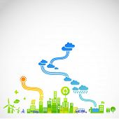 "stock photo of sustainable development  - ""ecotown"" - modern ecological town illustration - JPG"