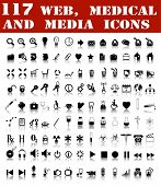 117 web, medical and media icons