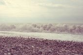 Sea Wave Surf. Sea Waves With A Lot Of Sea Foam. Toned. poster