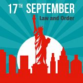 Law And Order 17 September Background. Flat Illustration Of Law And Order 17 September Background Fo poster