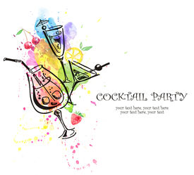 stock photo of cocktail menu  - Cocktail party invitation - JPG