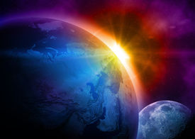 stock photo of planet earth  - Planet earth with sunrise in space - JPG