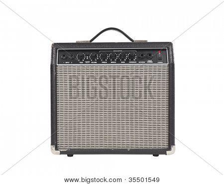 Worn vintage guitar amplifier with clipping path.